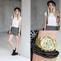 Laura J. - Urban Outfitters Hat, Set Shirt, Marccain Bracelet, Michael Kors Watch, Urban Outfitters Shorts, Underground Creepers - Black and white