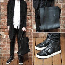 Nathan Dalby - All Saints Wool Cardigan, Joseph North South Tote, Zara Crocodile High Tops - Casual Wool