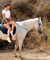 Michele C - Brandy Melville Usa White Crop Top, Topshop White Socks - White Horse