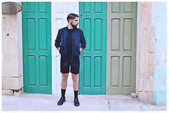 Malcolm Gauci - Custom Made Tailored Shorts, Zara Bomber Jacket, Topman Basic Tee, Zara Black Socks, New Look Lace Up Shoes With Chunky Sole - Malta Fashion Awards