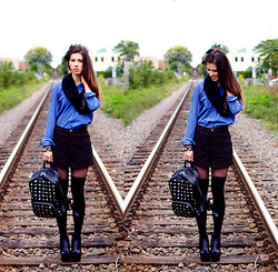 Cassandra Giugno - American Apparel Black High Waisted Jean Shorts, Material Girl Studded Leather Backpack, Kesmit Clothing Calgary Blue Collared Button Down, Skirt Wool Scarf, American Apparel Over The Knee High Socks, Forever 21 Wedge Booties, American Apparel Sheer Nylons - Meet me at the railway