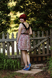 Jamie Rose - Modcloth Pink Leopard Print Dress, Xappeal Blue Wedges - Pink Leopard