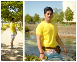 Michael Primacio - Grab  A  Tee Plain Yellow, Bench Body Bag, Penshoppe Board Shorts, Sanuk Shoes - Summer Feels