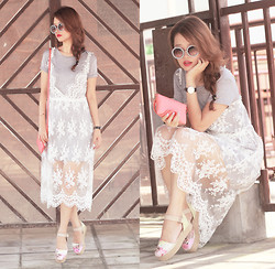 Mayo Wo - Choies Lace Dress, Romwe Embellished Sunnies, Oroton Mini Purse - Easy lacey