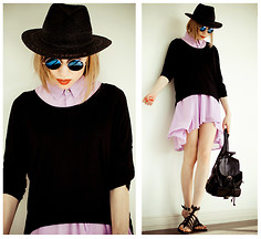Tini Tani - Sheinside Dress, H&M Hat, Bag, H&M Sandals - Black hat