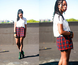 Martina McFarlane - Forever 21 Plaid Shorts, Miista Boots, Necessary Clothing Lace Crop Top - Swear My Promises To The Sky