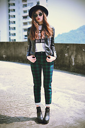 Tess Lively - Choies White Tee, Sheinside Leather Jacket, 6ks Green Plaid Pants, Younghungryfree Black Heels - Your dream