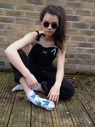 Gemma Hanham - Weed Socks (Home Made), Round Sunglasses, Urban Outfitters Lace Bralet, Calvin Klein Corduroy Dungarees - CK Cords
