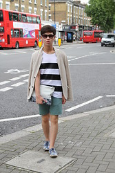 Lenny Pham - Prada Foldable Shades, Zara Leather Striped T Shirt, Zara Knitted Blazer, Zara Printed Clutch, Topman Emerald Shorts, Zara Printed Espadrilles - Casual Chic For London