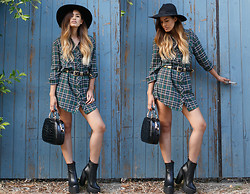 Jill Wallace - Missguided Emery Tartan Shirt Dress, Missguided Joranda Black Patent Bag, Missguided Rosamonde Extreme Platforms - Missguided x Little Black Boots