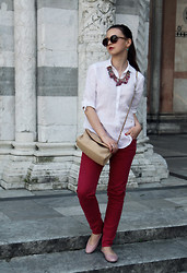 Kateryna Horb - Etro Necklace, Burberry Pants, Massimo Dutti Shirt - Some red, some white