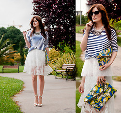Viktoriya Sener - Zara Tee, Wholesale7 Midi Skirt, Mango Sandals, Zerouv Sunnies, Younghungryfree Necklace, River Island Clutch - JUST BEFORE THE RAIN