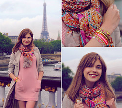 Anastasia K. - Ganni Dress, Monki Trench, Hipanema Scarf, Hipanema Bracelet, Marc By Jacobs Backpack - Lovely rose. :)