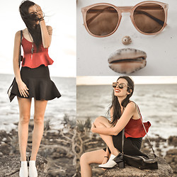 Elle-May Leckenby - Zerouv Round P3 Key Hole Sunglasses, Sheinside Deep Red Peplum Crop - Dancing shells