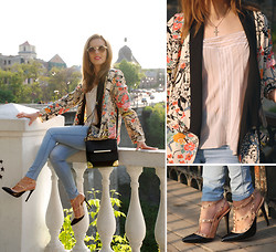 Iren P. - Persun Floral Printed Blazer, Mart Of China Studded Black And Nude Heels, Vintage Cami Lingerie Nude Lace Top, Asos Nude Round Sunglasses, Aldo Alexander Wang Marion Inspired Bag With Metal Corners - Discovering Ukraine part 1