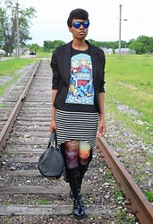 Sushanna M. - Thrifted Black Oversized Blazer, Threadless Breakdancing Jesus T Shirt, Black & White Striped Cap Sleeve High Low Dress, Romwe Galaxy Leggings, Vj Style Gold Studded Barrel Bag - Bad Religion