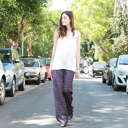 Sahar Lazari - Castro Silk Shirt, Zara Wide Plaid Pants, Forever 21 Mules - All Wide Everything