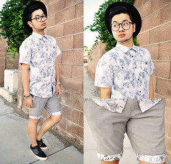 Shawn C. - Ambig Clothing Floral Print Shirt, Ambig Walkshorts - The gray print (Visit my blog)
