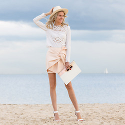 Dasha Gold - Lack Of Color Hat, Keepsake White Top, Cameo The Label Pastel Skirt, Fox Lane Collective Pastel Clutch - Vanilla Sky