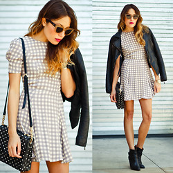 Lauren G. - Quay Eyewear Kitti Sunglasses, Steve Madden Pointed Toe Booties, The Reformation Checkered Flared Dress, Deux Lux Bags Dottie Messenger Bag, Barneys Originals Asymmetrical Leather Jacket, Forever 21 Gold Cuff - Check Mate