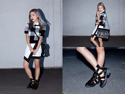 Eugénie Grey - Missguided Collared Dogtooth Boxy Top, Missguided Croc Multi Buckle Ankle Boots, Missguided Leather Gold Detail Satchel, Missguided Monochrome Checked Eyelash Jumper, Missguided Monochrome Wrap Mini Skirt - Clueless