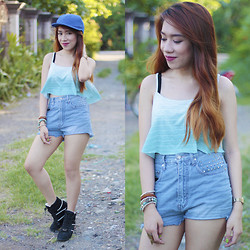 Tisha September Arnaldo - Ripples By Jenny Ombre Midriff, Diy Denim Shorts, People Are Sneaker Wedge - OMBRE LOVE