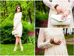 Veronica Agapova - Chic Wish Lace Dress, Vintage Bag, Asos Round Sunglasses - The lace