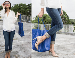 Meli P. - Jessica Simpson Nude Ankle Strap Pumps, Bcbg Blue Tote Bag, Bebe White Silk Blouse, Levi's® Jeans - Things are looking up