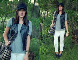 Alexis Kelly - Express Leather Vest, Articles Of Society White Jeans, Guess? Hightops, Michael Kors Leather Bag, Fossil Gold Watch, Forever 21 Baseball Hat, Target T Shirt - T-SHIRT.
