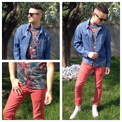 Gabriele Giuzzi - Levi's® Denim Jacket, Zara Tee, Zara Pants, Converse Shoes, Neff Sunglasses, Asos Ring, Dodo   Pomellato Bracelet - My head is a jungle!