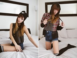 Hannah Ray - Obey, Drop Dead Clothing, Forever 21 Thigh High Socks, H&M High Waisted Shorts, Drop Dead Clothing Flannel, Snatch N Feathers - Ninjas in London