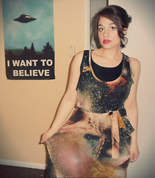 Lindsey S. - Unknown Vintage Galaxy Dress - Out of this Universe and into the stars