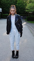 Emilija Baranac - Topman Leather Jacket, Topshop Striped Crop Top, Wilfred Free Overalls, Dr. Martens Combat Boots - Shades of Cool