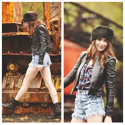 The Fair Allure - Jean Shorts, Leather Jacket, Hat, Boots, Flannel Shirt - Camp 18
