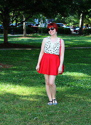 Jamie Rose - Modcloth Cat Print Tank Top, Sheinside Red Skater Skirt, Boohoo Houndstooth Flats, 5 Below Cat Eye Sunglasses - Cat Print & Red Skater Skirt