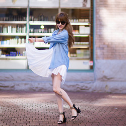 Ivy Xu - Vintage Denim Shirt, Noul Dress, Zara Heels - Light as feather