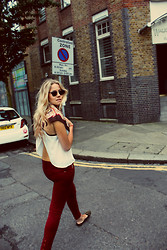 Lovisa - Ray Ban Wayfrarers, Lf Sheer Open Back Top, Zara Jeggings, Topshop Studded Slippers, Urbiana Uk Silk Neckerchief - Classy Simple Summer Look