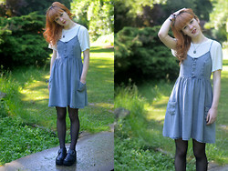 Ellie H - Topshop Dress, &Other Stories Tee, Vagabond Boots - Dappled Light