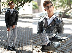 Wail Bén II - Perfecto Leather Jacket, Zara Boots, Cheap Monday Jeans - Rock and classy