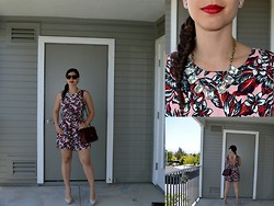 Sera A. - Céline Tortoise Sunglasses, Chanel Cc Earrings, Rihanna For Mac Viva Glam, T.J.Maxx Stone Necklace, Zara Printed Playsuit, Chanel Burgundy Bag, Guess? Nude Patent Heels - Tropical Playsuit