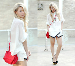 Anastasia Siantar - White Shirt, Black Lining Skort, Charlotte Olympia Dolly Pumps, Givenchy Mini Pandora - White lovin