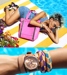 Alanna Durkovich - La Moda Tayla Rose Tote, La Moda Electro Print Sandals, Black Five Denim Dres, Wholesale Celeb Shades Green Round Sunnies, Half United Cambodian Bracelets, Triwa Rose Lansen Chrono Watch - Keep Your Friends Close, And Your Purses Closer