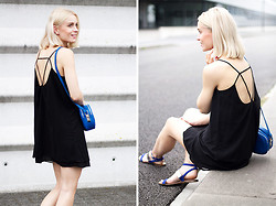 Anita VDH - Sheinside Spaghetti Strap Dress, Next Blue Shoulder Bag, Zara Blue Sandals - Spaghetti Strap