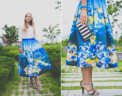Olga Choi - Chic Wish Skirt, Goodnight Macaroon Blouse, Zara Clutch Bag, Marc By Jacobs Bracelet - Dreaming of Santorini