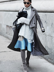 Margaret Zhang - Paul & Alice Trench, Zara Chunky Knit, Vp The Label Croc Tote, Ostwald Helgason Ruffle Skirt, Stuart Weitzman Highland Boots, Prism Square Sunglasses - Polar Vortex