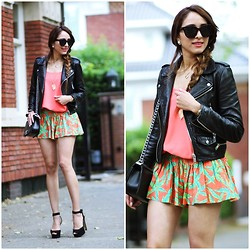 Virgit Canaz - Lovers + Friends Shorts, Zara Heels, Mango Leather Jacket - Palm trees on my short