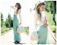 Tini Tani - Serginnetti Skirt, Bershka Bag, By Tini Tani Top, Zara Necklace - Mint