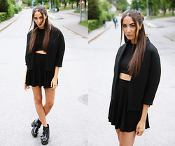 Malin E. - Jacket, H&M Top, H&M Skirt, Topshop Shoes - Another black saturday.