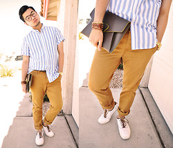 Shawn C. - Trouve Clutch, Asos Striped Shirt, Tommy Hilfiger Canvas & Leather Sneakers, Asos Chinos - Nirvana (Visit my blog)