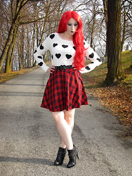 Lauren H - Express Heart Sweater, Forever 21 Red Plaid Skirt, Deb Shop Chain Booties - Gigantic